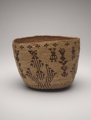 Klikitat (Native American). Imbricated Basket with Geometric Figures, early 20th century. Cedar root, grass, dye, 11 1/2 x 8 1/2 x 9 in. (29.2 x 21.6 x 22.9 cm). Brooklyn Museum, Charles Stewart Smith Memorial Fund, 46.193.6. Creative Commons-BY