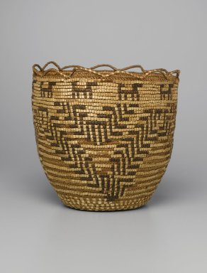 Skokomish, Coast Salish (Native American). Basket, late 19th or early 20th century. Cedar root, bark, grass, dye, 10 1/4 x 10 5/8 x 10 5/8 in. (26 x 27 x 27 cm). Brooklyn Museum, Charles Stewart Smith Memorial Fund, 46.193.7. Creative Commons-BY