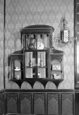 George A. Schastey (1839-1894). Hanging Wall Cabinet, One of Pair. Lacquer with gold decoration, glass Brooklyn Museum, Gift of John D. Rockefeller, Jr., 46.43.18. Creative Commons-BY