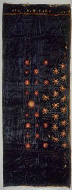 George A. Schastey (1839-1894). Curtain panel, one of a pair (part of a set of two pairs of Curtains) Moorish style, Rockefeller Room, ca. 1880. Aquamarine blue silk velvet with elaborately-embroidered appliques Brooklyn Museum, Gift of John D. Rockefeller, Jr., 46.43.25. Creative Commons-BY