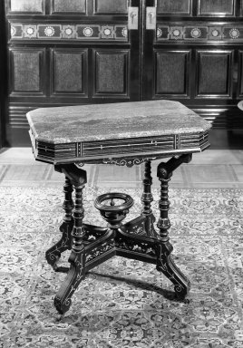Table, ca. 1880. Ebonized chery, marble, 30 1/2 x 20 1/4 x 28 1/4 in. (77.5 x 51.4 x 71.8 cm). Brooklyn Museum, Gift of John D. Rockefeller, Jr., 46.43.3. Creative Commons-BY