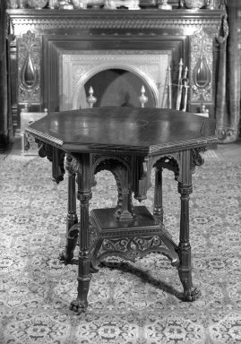 George A. Schastey (1839-1894). Table, 1882-4. Ebonized cherry; hardstone inserts, 30 1/4 x 34 in. (76.8 x 86.4 cm). Brooklyn Museum, Gift of John D. Rockefeller, Jr., 46.43.4. Creative Commons-BY