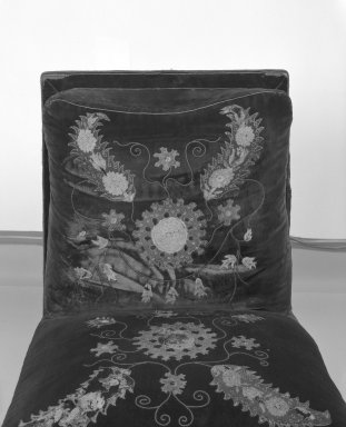 George A. Schastey (1839-1894). Upholstered Slipper Chair, Aesthetic Movement style with Moorish style embroidery (Rockefeller Room), ca. 1880. Unidentified ebonized wood, original velvet upholstery, 34 x 25 1/4 x 25 in. (86.4 x 64.1 x 63.5 cm). Brooklyn Museum, Gift of John D. Rockefeller, Jr., 46.43.5. Creative Commons-BY
