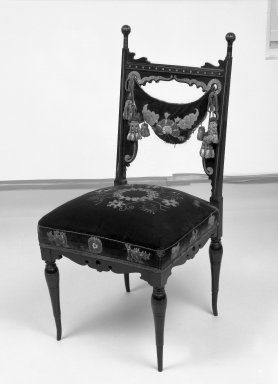 George A. Schastey (1839-1894). Side chair (one of a pair) Aesthetic Movement style with Moorish style embroidery (Rockefeller Room), ca. 1880. Unidentified ebonized wood, original velvet upholstery Brooklyn Museum, Gift of John D. Rockefeller, Jr., 46.43.6. Creative Commons-BY