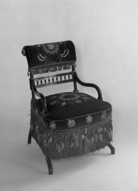 George A. Schastey (1839-1894). Armchair, Aesthetic Movement style with Moorish style embroidery(Rockefeller Room), ca. 1880. Unidentified ebonized wood, original velvet upholstery, 29 1/2 x 19 3/4 x 16 1/4 in. (74.9 x 50.2 x 41.3 cm). Brooklyn Museum, Gift of John D. Rockefeller, Jr., 46.43.8. Creative Commons-BY
