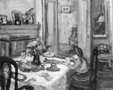 Arbit Blatas (American, born Lithuania, 1908-1999). Dorothea at Breakfast. Oil on canvas, 32 x 36 in. (81.3 x 91.4 cm). Brooklyn Museum, Gift of Alexander Z. Kruse and the Lena Kruse Memorial Collection, 46.53. © Estate of Arbit Blatas