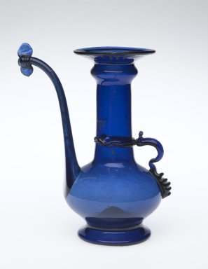 Ewer, 18th century. Translucent deep blue glass; free blown, applied, and pinched; tooled on the pontil, 6 1/2 x 3 11/16 in. (16.5 x 9.3 cm). Brooklyn Museum, Gift of Mrs. Frederic B. Pratt, 46.63.3. Creative Commons-BY