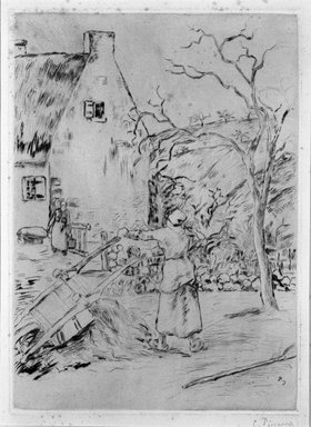 Camille Jacob Pissarro (French, born Danish West Indies, 1830-1903). Woman Emptying a Wheelbarrow (Femme vidant une brouette), 1880. Etching on laid paper on Ingres pink paper affixed to wove paper, 12 1/2 x 9 1/16 in. (31.7 x 23 cm). Brooklyn Museum, A. Augustus Healy Fund, 46.90