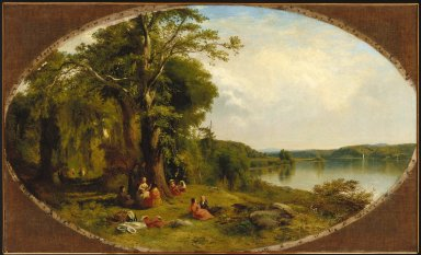 James McDougal Hart (American, 1828-1901). Picnic on the Hudson, 1854. Oil on canvas, 15 3/8 x 55 11/16 in. (39 x 141.5 cm). Brooklyn Museum, Dick S. Ramsay Fund, 46.93
