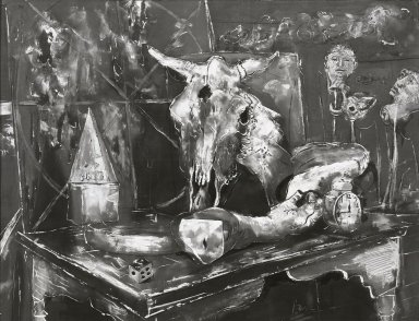 Karl Zerbe (American, 1903-1972). Still Life with Skull, 1946. Gouache, sight: 19 1/4 x 25 1/2 in. (48.9 x 64.8 cm). Brooklyn Museum, Museum Collection Fund, 47.105. © Estate of Karl Zerbe