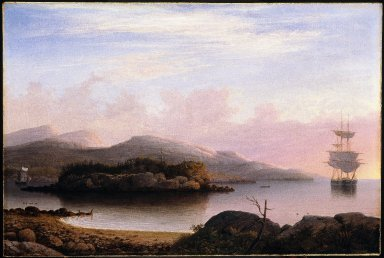 Fitz Henry Lane (American, 1804-1865). Off Mount Desert Island, 1856. Oil on canvas, 24 x 36 1/8 in. (61 x 91.8 cm). Brooklyn Museum, Museum Collection Fund, 47.114