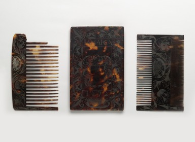 Combs and Case, 1672. Tortoise shell, a, case: 6 1/16 x 3 7/8 x 7/16 in. (15.4 x 9.8 x 1.1 cm). Brooklyn Museum, Carll H. de Silver Fund, 47.116.2a-c. Creative Commons-BY