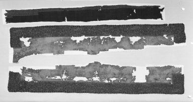 "Paracas Necropolis ""linear"". Mantle Border or Mantle, Fragments, Border, 100 B.C.E.-100 C.E. Cotton, camelid fiber, a: 102 3/4 x 16 1/8 in. (261.0 x 41.0 cm) plus fringes. Brooklyn Museum, Alfred W. Jenkins Fund, 34.1541a-b. Creative Commons-BY"