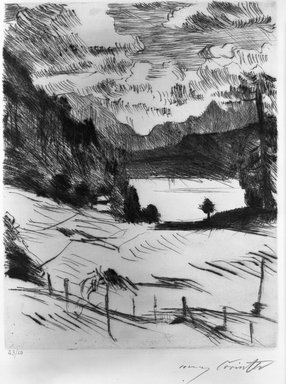 Lovis Corinth (German, 1858-1925). The Walchensee (Der Walchensee), 1920. Etching and drypoint on wove paper, Image (Plate): 9 3/4 x 7 5/8 in. (24.8 x 19.4 cm). Brooklyn Museum, Gift of Lewis Turner, 47.139.2.2