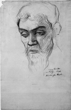 Lovis Corinth (German, 1858-1925). Study for Christus, 1896. Drawing in charcoal on laid paper, Sheet: 18 7/8 x 12 in. (48 x 30.5 cm). Brooklyn Museum, Gift of Lewis Turner, 47.139.3