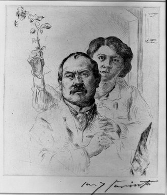 Lovis Corinth (German, 1858-1925). Self-Portrait with Wife (Selbstbildnis mit Gattin), 1904. Drypoint on laid paper, Image (Plate): 7 11/16 x 6 15/16 in. (19.5 x 17.6 cm). Brooklyn Museum, Gift of Lewis Turner, 47.139.9