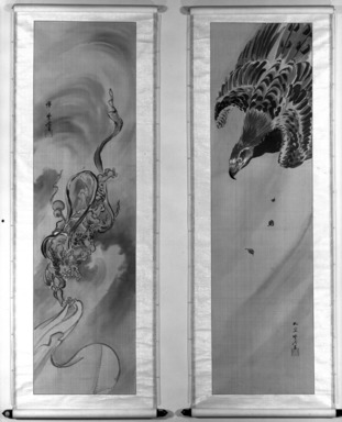 Kawanabe Kyosai (Japanese, 1831-1889). Eagle, One of Pair of Scrolls Depicting The God of Wind Chased by An Eagle, 19th century. Hanging scroll; ink and color on silk, Image: 48 13/16 x 13 11/16 in. (124 x 34.8 cm). Brooklyn Museum, Frank L. Babbott Fund, 47.185.2