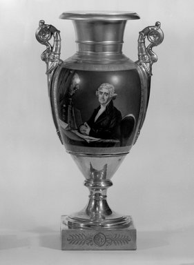 Vase, One of a Pair, Thomas Jefferson, 1828-1830. Porcelain, overglaze enamel, gilt, 17 1/2 x 9 1/2 x 7 in.  (44.5 x 24.1 x 17.8 cm). Brooklyn Museum, Museum Collection Fund, 47.19.2. Creative Commons-BY