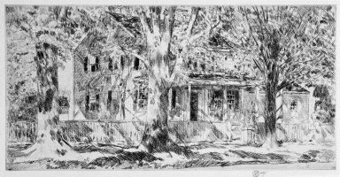 Frederick Childe Hassam (American, 1859-1935). House on the Main Street, Easthampton, 1922. Etching on paper, Sheet: 8 7/16 x 14 in. (21.4 x 35.6 cm). Brooklyn Museum, Dick S. Ramsay Fund, 47.206.1
