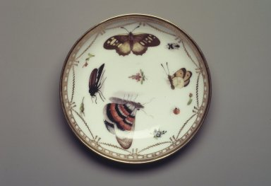 Meissen Porcelain Factory (copy of). Saucer: Part of 17-Piece Tea Service, ca. 1825-1830. Porcelain, height: 1 1/4 in. Brooklyn Museum, Gift of Susan D. Bliss, 47.210.72. Creative Commons-BY