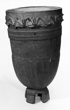 Drum, late 19th or early 20th century. Wood, hide, 35 1/2 x 22 1/2 in. (90.0 x 57.0 cm). Brooklyn Museum, Gift of A.F.G. Raikes, 47.211. Creative Commons-BY
