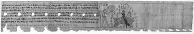 Scene from a Magical Papyrus, 7th - 4th century B.C.E. Papyrus, ink, a: Glass: 7 1/2 x 26 3/8 in. (19 x 67 cm). Brooklyn Museum, Bequest of Theodora Wilbour from the collection of her father, Charles Edwin Wilbour, 47.218.156a-d