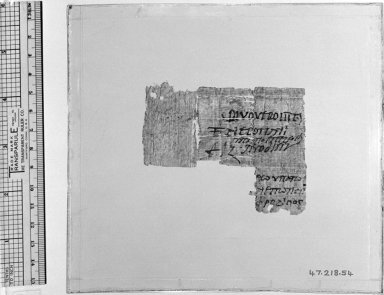 Greek. Papyrus Inscribed in Greek, 169 C.E. or later. Papyrus, ink, Glass: 6 x 6 9/16 in. (15.3 x 16.7 cm). Brooklyn Museum, Bequest of Theodora Wilbour from the collection of her father, Charles Edwin Wilbour, 47.218.54