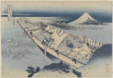 "Katsushika Hokusai (Japanese, 1760-1849). View of Fuji from a Boat at Ushibori from ""Thirty-Six Views of  Fuji,"" 1834. Woodblock color print, 10 3/8 x 15 1/4 in. (26.4 x 38.7 cm). Brooklyn Museum, Gift of Louis V. Ledoux, 47.47"