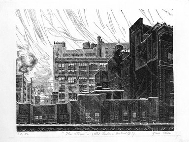 Grace Arnold Albee (American, 1890-1995). The Storm, 1946. Wood engraving on paper, 4 5/8 x 5 7/8 in. (11.7 x 15 cm). Brooklyn Museum, Dick S. Ramsay Fund, 47.64. © Estate of Grace Arnold Albee