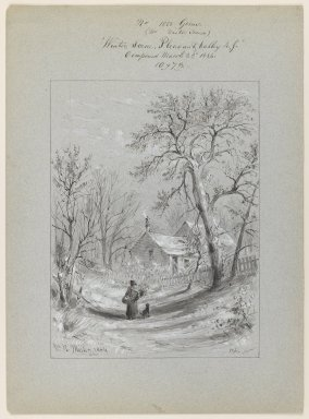 William Rickarby Miller (American, 1818-1893). Winter Scene, Pleasant Valley, New York, March 22, 1884. Pen, ink and wash on paper, Sheet: 14 3/4 x 10 3/4 in. (37.5 x 27.3 cm). Brooklyn Museum, Dick S. Ramsay Fund, 47.7.3