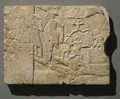 Harbor Scene, ca. 1336 B.C.E.-1295 B.C.E. Limestone, 11 15/16 x 16 1/8 x 1 7/16 in. (30.4 x 41 x 3.7 cm). Brooklyn Museum, Charles Edwin Wilbour Fund, 48.112. Creative Commons-BY