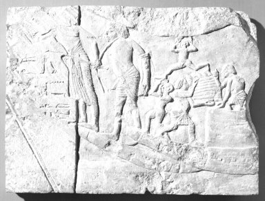 Harbor Scene, ca. 1336 B.C.E. - 1295 B.C.E. Limestone, 11 15/16 x 16 1/8 x 1 7/16 in. (30.4 x 41 x 3.7 cm). Brooklyn Museum, Charles Edwin Wilbour Fund, 48.112. Creative Commons-BY