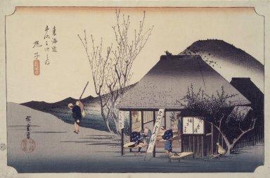 Utagawa Hiroshige (Ando) (Japanese, 1797-1858). Mariko Mabutsu Chaya, 1834. Woodblock color print, 8 7/8 x 13 7/8 in. (22.5 x 35.3 cm). Brooklyn Museum, Anonymous gift, 48.123.1