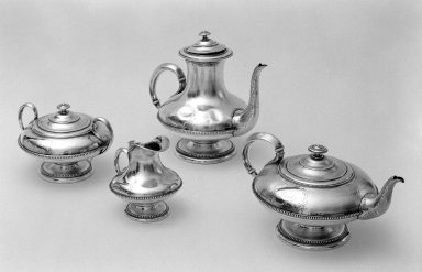 Teapot from Tea Service, 1838. Silver, 5 1/2 x 4 1/2 in. (14 x 11.4 cm). Brooklyn Museum, Gift of Mary S. Pondir-Jones, 48.130.1. Creative Commons-BY