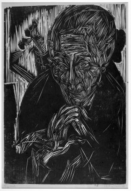 Ernst Ludwig Kirchner (German, 1880-1938). Old Woman (Mother Müller) (Alte Bünderin [Mütter Müller]), 1918. Woodcut on heavy wove paper, Image: 20 1/8 x 13 1/2 in. (51.1 x 34.3 cm). Brooklyn Museum, Charles Stewart Smith Memorial Fund, 48.135.2