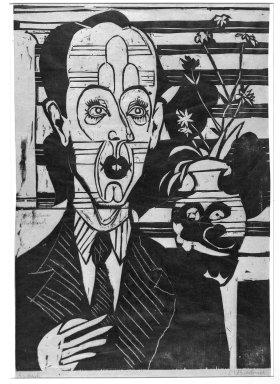 Ernst Ludwig Kirchner (German, 1880-1938). Portrait of Dr. Huggler (Bildnis Dr. Huggler), 1935. Woodcut on thin laid paper, Image: 19 1/2 x 13 3/4 in. (49.5 x 34.9 cm). Brooklyn Museum, Charles Stewart Smith Memorial Fund, 48.135.3
