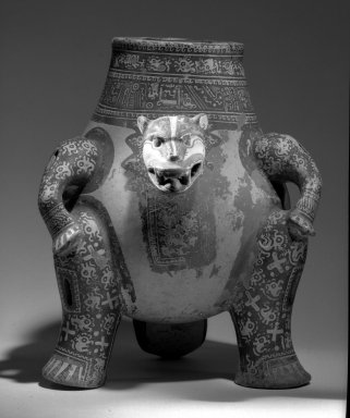 Jaguar Effigy Vessel, 1000-1550. Ceramic, pigment, 13 3/8 x 10 13/16 in. (34 x 27.5 cm). Brooklyn Museum, A. Augustus Healy Fund, 48.140.2. Creative Commons-BY
