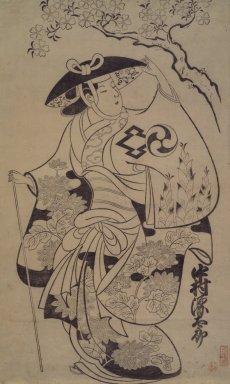 Torii Kiyonobu I (Japanese, 1664-1729). Actor Nakamura Gentaro as Takiguchi's Wife Shinonome, 1700-1705. Woodblock print, Sheet: 28 x 22 in. (71.1 x 55.9 cm). Brooklyn Museum, Gift of Louis V. Ledoux, 48.15.10