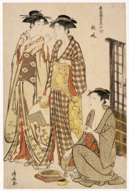 "Torii Kiyonaga (Japanese, 1752-1815). Two Women Standing, from series ""Tosai Yuri Bijin Awase,"" 1782. Woodblock color print, sheet: 15 x 10 in. (38.1 x 25.4 cm). Brooklyn Museum, Gift of Louis V. Ledoux, 48.15.5"