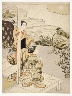 Suzuki Harunobu (Japanese, 1724-1770). Two Girls on the Veranda Looking at the Moon, 18th century. Woodblock color print, 11 5/16 x 8 9/16 in. (28.8 x 21.8 cm). Brooklyn Museum, Gift of Louis V. Ledoux, 48.15.6