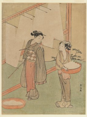 Suzuki Harunobu (Japanese, 1724-1770). Young Girl and Servant Drying Japanese Fine Noodles, ca. 1766. Woodblock color print, 10 9/16 x 7 7/8 in. (26.8 x 20.1 cm). Brooklyn Museum, Gift of Louis V. Ledoux, 48.15.7