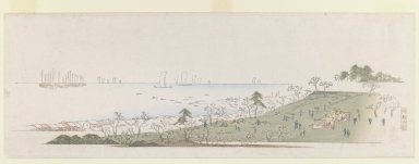 Brooklyn Museum: Cherry-blossom Time, People Picknicking at Gotenyama, from Letter-Sheet set.