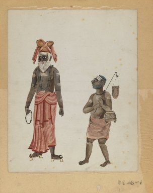 One of Set of Nine Watercolors showing Indians in Different Professions, 19th century. Watercolor on paper, 8 3/8 x 6 5/8 in.  (21.3 x 16.8 cm). Brooklyn Museum, Gift of Louis Loughlin, 48.16.1