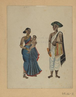 One of Set of Nine Watercolors showing Indians in Different Professions, 19th century. Watercolor on paper, 8 3/8 x 6 5/8 in.  (21.3 x 16.8 cm). Brooklyn Museum, Gift of Louis Loughlin, 48.16.2
