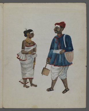 One of Set of Nine Watercolors showing Indians in Different Professions, 19th century. Watercolor on paper, 8 3/8 x 6 5/8 in.  (21.3 x 16.8 cm). Brooklyn Museum, Gift of Louis Loughlin, 48.16.4