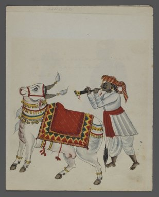 One of Set of Nine Watercolors showing Indians in Different Professions, 19th century. Watercolor on paper, 8 3/8 x 6 5/8 in.  (21.3 x 16.8 cm). Brooklyn Museum, Gift of Louis Loughlin, 48.16.5