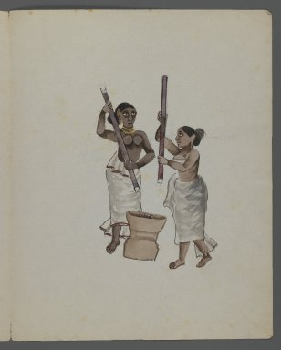 One of Set of Nine Watercolors showing Indians in Different Professions, 19th century. Watercolor on paper, 8 3/8 x 6 5/8 in.  (21.3 x 16.8 cm). Brooklyn Museum, Gift of Louis Loughlin, 48.16.8
