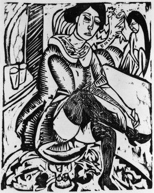 Ernst Ludwig Kirchner (German, 1880-1938). Woman, Tying Shoe (Frau Schuh zuknöpfend), 1912. Woodcut on laid paper, Image: 12 1/8 x 9 7/8 in. (30.8 x 25.1 cm). Brooklyn Museum, Gift of J. B. Neumann, 48.172.3
