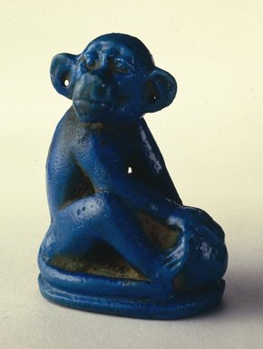 Figure of Monkey Seated on Ovoid Base, ca. 1352-1336 B.C.E. Faience, glazed, 2 1/8 x 1 1/8 x 1 9/16 in. (5.4 x 2.8 x 4 cm). Brooklyn Museum, Charles Edwin Wilbour Fund, 48.181. Creative Commons-BY