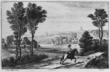 Wenceslaus Hollar (Czechoslovakian, 1607-1677). Le Paysage au Postillon: Jan Wildens. Etching on laid paper, 5 11/16 x 8 11/16 in. (14.5 x 22 cm). Brooklyn Museum, Gift of William Lybrand, 48.193.77